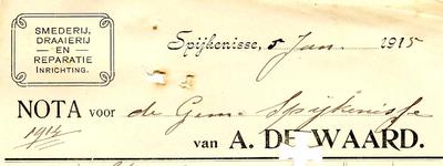 SP_WAARD_014 Spijkenisse, Waard, de - A. de Waard. Smederij, draaierij en reparatie-inrichting, (1915)