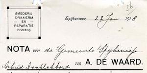 SP_WAARD_015 Spijkenisse, A. de Waard - Smederij, draaierij en reparatie inrichting, (1918)