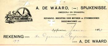 SP_WAARD_016 Spijkenisse, A. de Waard - Smederij en draaierij, reparatie-inrichting voor motoren en stoommachines, ...