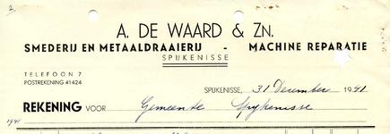 SP_WAARD_017 Spijkenisse, A. de Waard & Zn. - Smederij en metaaldraaierij, machine reparatie, (1941)