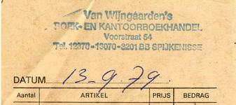 SP_WIJNGAARDEN_002 Spijkenisse, Van Wijngaarden - Boek- en kantoorboekhandel Van Wijngaarden, (1979)