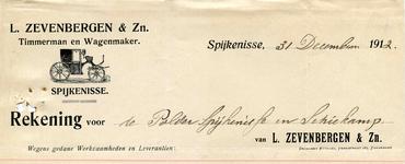 SP_ZEVENBERGEN_001 Spijkenisse, Zevenbergen - L. Zevenbergen en Zoon, Timmerman en wagenmaker, (1912)
