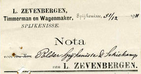 SP_ZEVENBERGEN_002 Spijkenisse, Zevenbergen - L. Zevenbergen, Timmerman en wagenmaker, (1911)