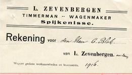 SP_ZEVENBERGEN_003 Spijkenisse, Zevenbergen - L. Zevenbergen, Timmerman, wagenmaker, (1916)