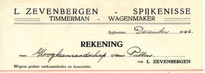 SP_ZEVENBERGEN_004 Spijkenisse, Zevenbergen - L. Zevenbergen, Timmerman - Wagenmaker, (1942)