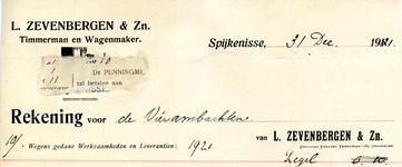 SP_ZEVENBERGEN_005 Spijkenisse, Zevenbergen - L. Zevenbergen & Zn., Timmerman en wagenmaker, (1921)