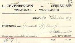 SP_ZEVENBERGEN_006 Spijkenisse, L. Zevenbergen - Timmerman, wagenmaker, (1937)