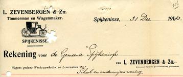 SP_ZEVENBERGEN_008 Spijkenisse, L. Zevenbergen - Timmerman en Wagenmaker, (1921)