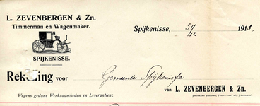 SP_ZEVENBERGEN_009 Spijkenisse, L. Zevenbergen & Zn. - Timmerman en Wagenmaker, (1913)