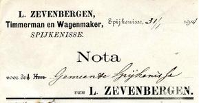 SP_ZEVENBERGEN_010 Spijkenisse, Zevenbergen - L. Zevenbergen, Timmerman en Wagenmaker, (1914)
