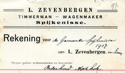 SP_ZEVENBERGEN_011 Spijkenisse, L. Zevenbergen - Timmerman en Wagenmaker, (1917)