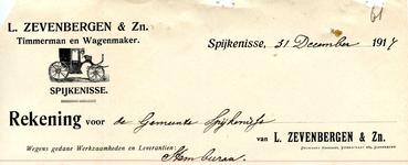 SP_ZEVENBERGEN_012 Spijkenisse, L. Zevenbergen & Zn. - Timmerman en Wagenmaker, (1917)