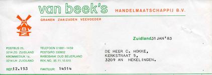 ZL_BEEK_005 Zuidland, Van Beek - Van Beek's Handelmaatschappij B.V. Granen, zaaizaden en veevoeder, (1983)
