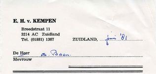 ZL_KEMPEN_001 Zuidland, Van Kempen - E.H. van Kempen, (1981)
