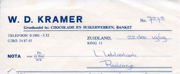 ZL_KRAMER_001 Zuidland, Kramer - W.D. Kramer, groothandel in: chocolade en suikerwerken, banket, (1969)