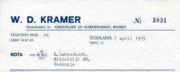 ZL_KRAMER_002 Zuidland, Kramer - W.D. Kramer, groothandel in: chocolade en suikerwerken, banket, (1975)