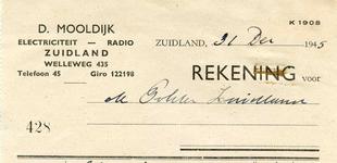ZL_MOOLDIJK_001 Zuidland, Mooldijk - D. Mooldijk, Electriciteit, Radio, (1945)