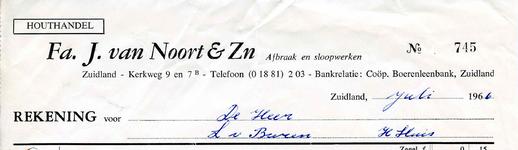 ZL_NOORT_001 Zuidland, Van Noort - Houthandel Fa. J. van Noort & Zn.; Afbraak en sloopwerken, (1966)