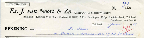 ZL_NOORT_002 Zuidland, Houthandel Fa. J. van Noort & Zn. - Afbraak en sloopwerken, (1969)