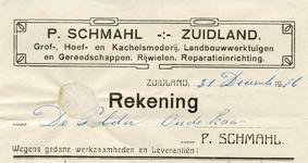 ZL_SCHMAHL_002 Zuidland, Schmahl - P. Schmahl, Grof-, Hoef- en kachelsmederij. Landbouwwerktuigen en gereedschappen. ...