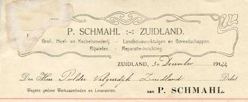 ZL_SCHMAHL_003 Zuidland, Schmahl - P. Schmahl, Grof-, Hoef- en Kachelsmederij. Landbouwwerktuigen en gereedschappen. ...