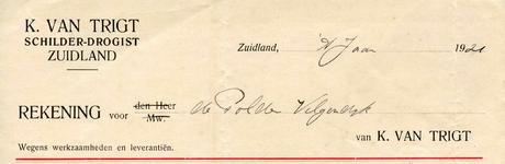 ZL_TRIGT_001 Zuidland, Van Trigt - K. van Trigt, Schilder - Drogist, (1921)