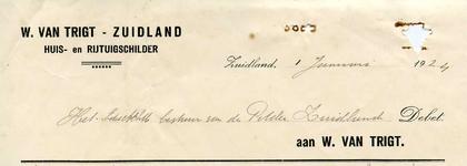 ZL_TRIGT_003 Zuidland, Van Trigt - W. van Trigt, Huis- en rijtuigschilder, (1924)