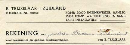 ZL_TRIJSELAAR_001 Zuidland, Trijselaar - E. Trijselaar, Koper-, lood- en zinkwerker. Aanleg van pomp, waterleiding en ...