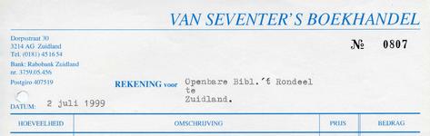 ZL_VAN SEVENTER_001 Zuidland, Van Seventer - Boek- en kantoorboekhandel A. van Seventer, (1972)