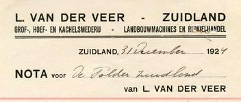 ZL_VEER_002 Zuidland, Van der Veer - L. van der Veer, Grof-, hoef- en kachelsmederij. Landbouwmachines en ...