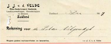 ZL_VELDE_001 Zuidland, V.d. Velde - J.J. v.d. Velde, Rijks-Gediplomeerd hoefsmid. Landbouwwerktuigen, gereedschappen en ...