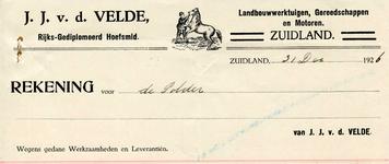 ZL_VELDE_002 Zuidland, V.d. Velde - J.J. v.d. Velde, Rijks-Gediplomeerd hoefsmid. Landbouwwerktuigen, gereedschappen en ...