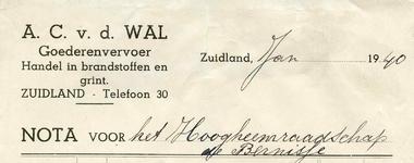 ZL_WAL_002 Zuidland, V.d. Wal - A.C. v.d. Wal, Goederenvervoer. Handel in brandstofen en grint, (1940)