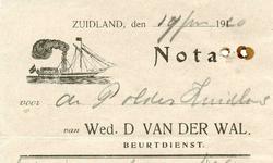 ZL_WAL_003 Zuidland, V.d. Wal - Wed. D. van der Wal, Beurtdienst, (1920)