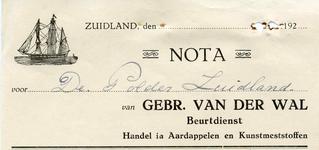 ZL_WAL_004 Zuidland, V.d. Wal - Gebr. van der Wal, Beurtdienst. Handel in aardappelen en kunstmeststoffen