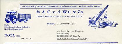 ZL_WAL_005 Zuidland, V.d. Wal - Fa. A.C. v.d. Wal & zn., Transportbedrijf. Zand- en Grinthandel. Brandstoffenhandel. ...