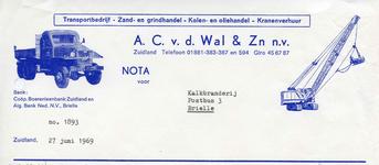 ZL_WAL_007 Zuidland, V.d. Wal - Transportbedrijf, Zand- en grinthandel, Kolen- en Oliehandel, Kranenverhuur A.C. v.d. ...