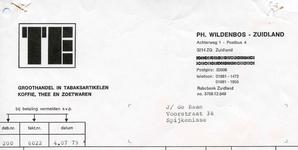 ZL_WILDENBOS_004 Zuidland, Wildenbos - Ph. Wildenbos, Groothandel in tabaksartikelen, koffie, thee en zoetwaren, (1979)