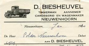 NN_BIESHEUVEL_001 Nieuwenhoorn, Biesheuvel - D. Biesheuvel, Timmerman - Aannemer, carosserie- en wagenmaker, (1930)