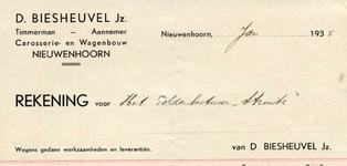 NN_BIESHEUVEL_002 Nieuwenhoorn, Biesheuvel - D. Biesheuvel Jz., Timmerman - Aannemer, Carosserie- en wagenbouw, (1935)