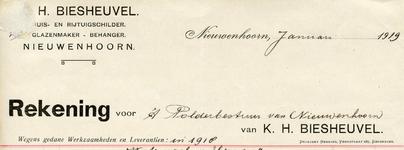 NN_BIESHEUVEL_005 Nieuwenhoorn, Biesheuvel - K.H. Biesheuvel, Huis- en rijtuigschilder, glazenmaker, behanger, (1919)