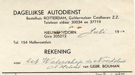 NN_BOUMAN_004 Nieuwenhoorn, Bouman - Gebr. Bouman. Dagelijkse autodienst. Bestelhuis Rotterdam, Geldermalsen, (1950)
