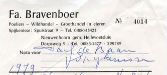 NN_BRAVENBOER_001 Nieuwenhoorn, Bravenboer - Fa. Bravenboer, Poeliers - Wildhandel, groothandel in eieren, (1979)