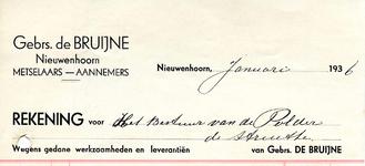 NN_BRUIJNE_003 Nieuwenhoorn, De Bruijne - Gebrs. de Bruijne Nieuwenhoorn, Metselaars - Aannemers, (1936)