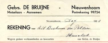 NN_BRUIJNE_004 Nieuwenhoorn, De Bruijne - Gebrs. De Bruijne, Metselaars - Aannemers, (1938)