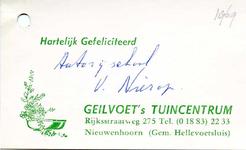 NN_GEILVOET_001 Nieuwenhoorn, Geilvoet - Bedankkaartje Geilvoet's tuincentrum, (1969)