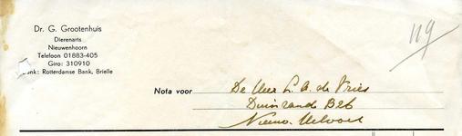 NN_GROOTENHUIS_001 Nieuwenhoorn, Grootenhuis - Dr. G. Grootenhuis, Dierenarts, (1959)