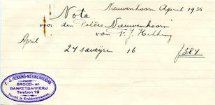 NN_HEKKING_001 Nieuwenhoorn, Hekking - F.J. Hekking, Brood- en banketbakkerij, handel in kruidenierswaren, (1935)