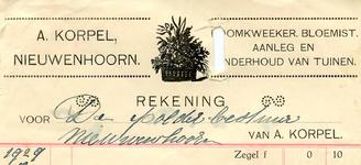 NN_KORPEL_001 Nieuwenhoorn, Korpel - A. Korpel, Boomkweeker, bloemist. Aanleg en onderhoud van tuinen, (1929)