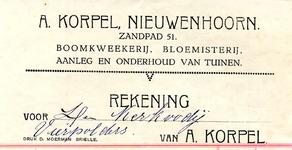 NN_KORPEL_002 Nieuwenhoorn, Korpel - A. Korpel, Boomkweekerij, bloemisterij. Aanleg en onderhoud van tuinen